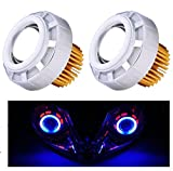 #8: AutoSun Projector Lamp Led headlight Lens projector ( High beam, Low Beam, Flasher function) Set Of 2 For Yamaha R15