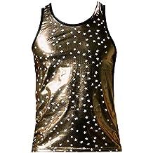 Männer Sexy Unterwäsche Sterne Weste Tank Top Body Wetlook Shirt Wetlook  Unterhemd Metallic Muskelshirt Ärmellos c9a03f5054