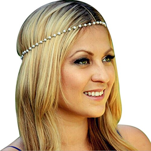 Atdoshop Women Head Jewelry Chain Headband Hair Band Headpiece Tassels Pearl
