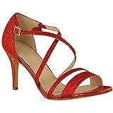 Fashion Thirsty Sandales Avec Lanières/Petit Talon - à Strass - Soirée - Femme - Rouge Brillant - EUR 36