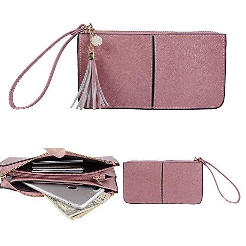 Befen Soft Leder Smartphone Zipper Geldbörse Organizer mit Kreditkartenetui / Bargeldtasche / Wristlet- [Bis zu 6 x 3,1 * 0,3 Zoll Mobiltelefon]-Rosa-lila (Rosa Soft-handtasche)