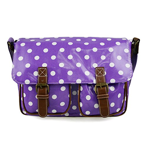 Miss Lulu Women's Oilcloth Satchel Bag Polka Dot Purple L1107D2 PE