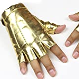 OverDose Demi-doigt PU Homme Femmes Hip-hop Nightclub Dancing Danse Spectacles  Des gants (Or)