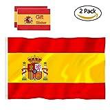 Bandera España Grande, 2Pcs Bandera Nacional Bandera Española, 90 x 150 cm, con 4 Pegatinas Impermeables (2 Pack)