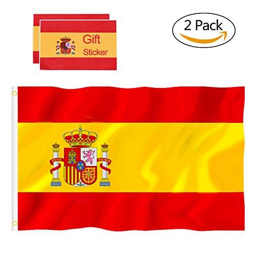 P Bandera España Grande, Bandera Nacional Bandera Española x2, 90 x 150 cm, con 4 Pegatinas Impermeables (2 Pack)
