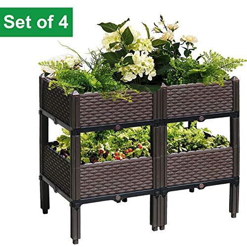 anzkasten Pflanzkübel Set Blumentopf DIY Blumenkasten im Rattan Design Bewässerung Blumenkübel Pflanztrog Balkon Garten, viele Möglichkeiten ()