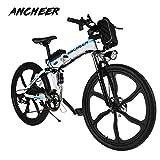 Ancheer Elektrofahrrad 26Zoll/20Zoll Zoll E- Bike Mountainbike, 25-50km/h Meilen Kilometerstand, 36V 8AH Abnehmbarer Akku and 21 Gang Getriebe (26Zoll /20Zoll) (26zoll - 21Gang - Weiss)