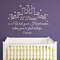 wangpdp Cinderella Wall Decal Quotations Dreams is a wish your heart makes girls wall stickers nursery wall stickers kids girls bedroom black 58 x 88 cm