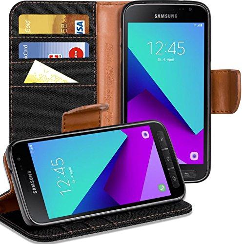 Verco Xcover 4 Hülle, Schutzhülle für Samsung Galaxy Xcover 4 Tasche Denim Textil Book Case Flip Case - Klapphülle Schwarz