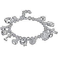 Idea Regalo - Nicebuty argento 925placcato moda donna 13ciondolo bellissimo bracciale