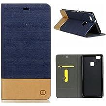 Fundas y estuches para teléfonos móviles, Premium PU cuero y suave TPU caucho cartera Flip cubierta protectora con ranura para tarjeta / soporte para Huawei P9 Lite ( Color : Azul Oscuro , Talla : Huawei P9 Lite )