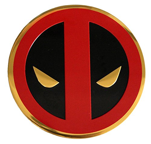 C&D Visionary Marvel Extreme Classic Deadpool Icon On Gold Metal Sticker, 8cm