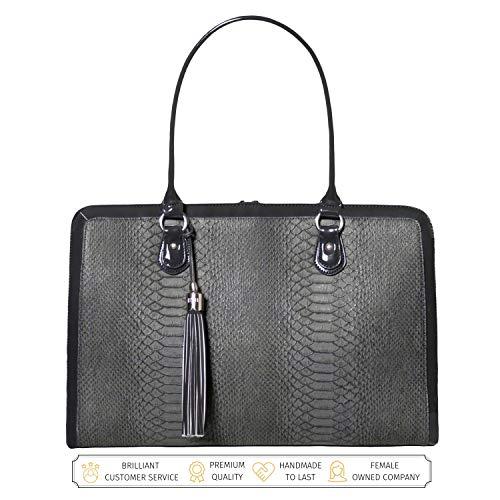 BFB Aktentasche, Computertasche - Handgefertigte 17 Zoll Laptoptasche Damen - Anthrazitgrau - by My Best Friend Is A Bag