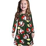 Weihnachten Kleid Kleinkind Kind Baby Mädchen Langarm Cartoon Print Kleid Kleidung