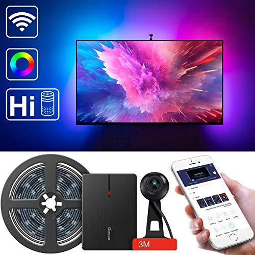 LED TV Hintergrundbeleuchtung, Govee WLAN TV Beleuchtung Kit mit Kamera, Led Streifen mit Alexa, APP gesteuerte Musik Lichtband, TV Ambient Neigungsbeleuchtung für 55-80 Zoll TV Kalibrierung auf APP