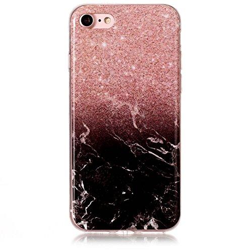 iPhone 7 Hülle, Voguecase Silikon Schutzhülle / Case / Cover / Hülle / TPU Gel Skin für Apple iPhone 7 4.7(Marmor Serie -Pink und Schwarzes) + Gratis Universal Eingabestift Marmor Serie -Pink und Schwarzes