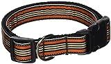 Mirage Pet Products Preppy Streifen Nylon Band Halsbänder, groß, orange/Khaki