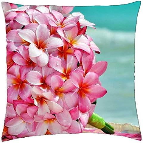 plumeria wedding bouquet - Throw Pillow Cover