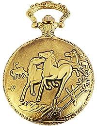 Flair Analog Reloj de bolsillo con metal y diseño cadena caballo 480802000045Oro Coloreado Carcasa en tamaño 46mm x 14mm con esfera de color blanco y cristal mineral.