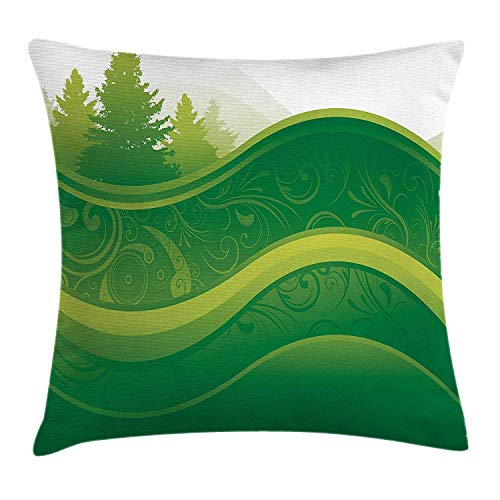 Throw Pillow Cushion Cover, Abstract Nature with Tree and Grass Silhouette on Park Hill Graphic, Decorative Square Accent Pillow Case, 18 X 18 inches, Lime and Fern Green ()