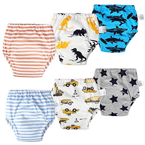 Flyish Packung mit 6 Baby Trainerhose Baby Trainingshose Kinder Trainingswäsche Kleinkind Töpfchen Hosen Baby Unterwäsche Wc Trainingswäsche 12 Monate - 4 Jahre