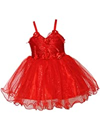 Chipchop Kids Girls Partywear Red Roses Net Dress - 6 Months, 1 Year, 2 years, 3 Years, 4 Years, 5 Years