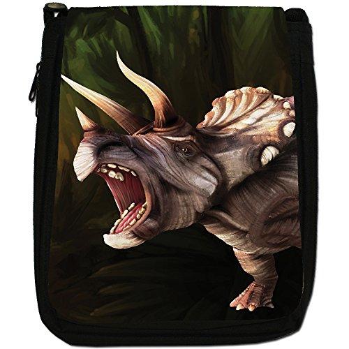 Jurassic dinosauro Terrible Lucertola Medium Nero Borsa In Tela, taglia M Triceratops 3 Horn Dinosaur