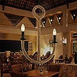 LilaminsThebox Nordic retrò vento industriale loft bar ristorante chandelier creative di metalli pesanti lampadari di ferro opere di ancoraggio lampadari in ferro battuto, Sisal 42 * 58 * la catena di sollevamento lunghezza 70cm