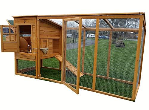 Hühnerstall Hühnerhaus Cocoon Hühnerstall Grosser Hühnerstall 2-4 Hühner mit Nistkasten aufmachbarem Dach für einfache Reinigung, mit Lüftungslöchern, mit stabilen Nistkasten, ca. 250 cm lang inkl. Nistkasten und Dachueberhang