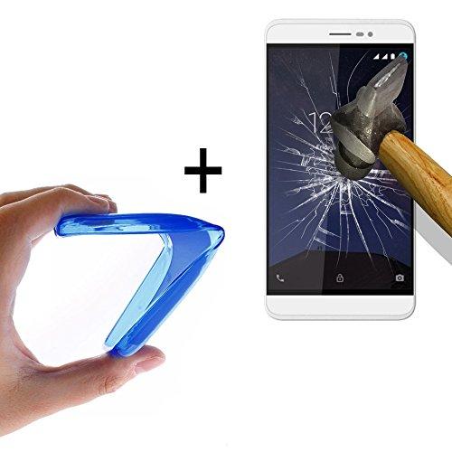 WoowCase - Flexible Gel Schutzhülle für [ Coolpad Porto S] [ +1 Schutzglas ] Hartglas, Hülle Case TPU Silikon in Blau