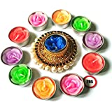 2DS Colourfull Tealight Candle Holder With 10 Nos Free Flower Shape Colourfull T-Light Candles For Home Decoration, Navratri/Diwali & Best Puja Ambience, Without Fragrance (Golden)