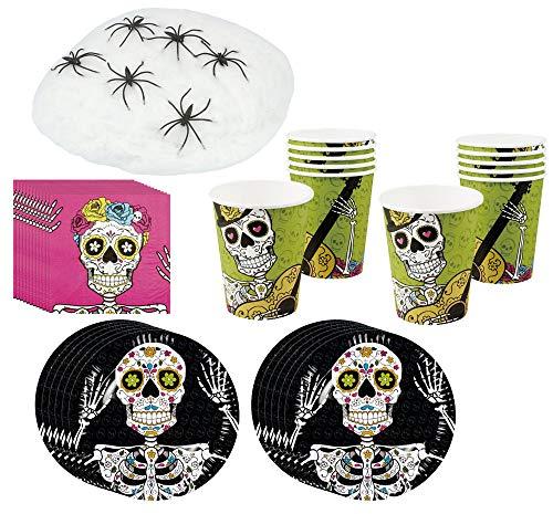 COM-FOUR® 43-teiliges Totenkopf Party-Geschirr und Deko-Set für Halloween, Geburtstag und Motto-Party (043-teiliges - Halloweenset) (Pappteller Halloween Spinnen)