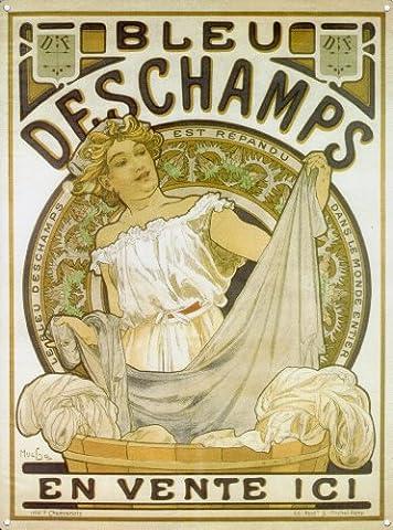 Posters : Alphonse BLEU DESCHAMPS Mucha Poster Reproduction-Plaque publicitaire rétro en métal 400 mm x 300 mm