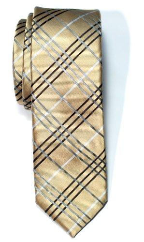 Retreez Herren Schmale Gewebte Krawatte Tartan Plaid Karo Manier 5 cm - gold