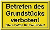 Hinweiszeichen Hinweisschild B 250 x H 150 mm -Betreten d. Grundstücks verboten-