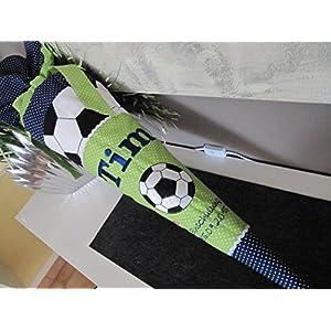 Fussball grün-blau Schultüte Stoff + Papprohling + als Kissen verwendbar