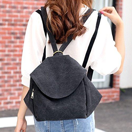 Leinwand Dame Freizeit Mode Mehrzweck- Retro Elegant Rucksack Taschen Black