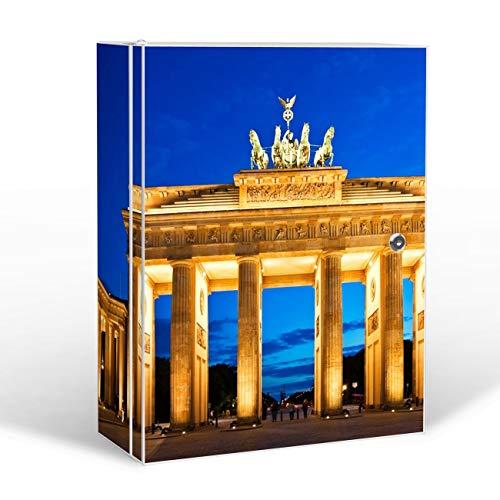banjado Medizinschrank groß abschließbar   Arzneischrank 35x46x15cm   Medikamentenschrank aus Metall weiß mit Motiv Brandenburger Tor