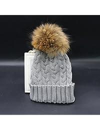 Las mujeres tejer lana Ski Cap Raccoon Fur Pom Beanie Hat invierno holgados tejer boina nueva gris claro