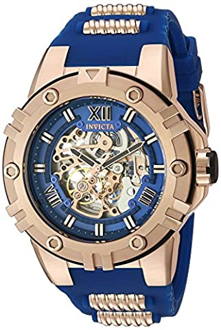 Invicta Men's 'Pro Diver' Mechanical Hand Wind Stainless Steel and Silicone Casual Watch, Color:Blue (Model: