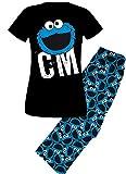 Sesamstraße Krümelmonster Schlafanzug Pyjama CM Gesicht (M)