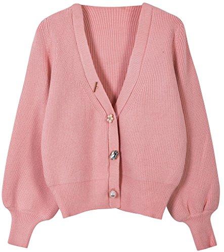 Vogueearth Femme's Longue Manche Knit Short Button Cardigan Sweater Chandail Tricots Rose