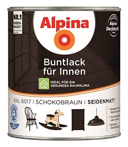 Alpina Buntlack für Innen Seidenmatt 0,75 Liter Farbwahl, Farbe (RAL):RAL 8017 Schokoladen-braun