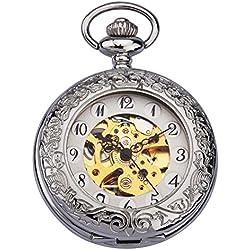 ZEIGER Herren Taschenuhr Analog Mechanisch Handaufzug Uhr Skelett Taschenuhr Armbanduhr Silber Herren Uhr W344