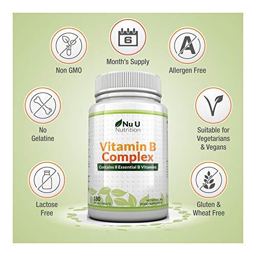 Vitamin B-Komplex – alle 8 B-Vitamine in einer Tablette – Vitamine B1, B2, B3, B5, B6, B12, D-Biotin & Folsäure – 6-Monats-Versorgung – 180 Tabletten – Nahrungsergänzungsmittel von Nu U Nutrition - 3