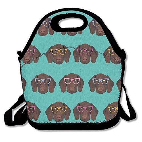 haar-Zeiger in Brille, große und dicke Neopren-Lunch-Taschen, isolierte Lunch-Tasche, Kühltasche, warm, mit Schultergurt, für Damen, Teenager, Mädchen, Kinder, Erwachsene ()