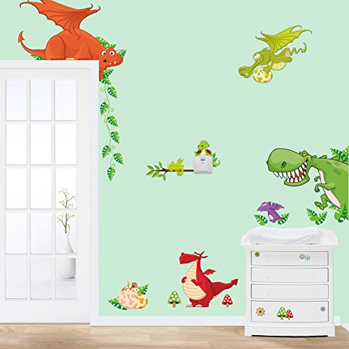 asenart extraíble Dragon Dinosaurios Vinilo Mural Art adhesivo de pared dibujos animados–Papel pintado para habitación de un niño decoración de puertas y ventanas