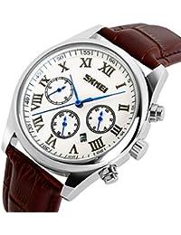 El raro templado acero Real piel marrón relojes para hombres