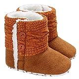 Winter-Baby-Säuglingsjungen-Mädchen Stricken Woolen warme Schnee-Stiefel-Schuhe (12-18 Months, Braun)
