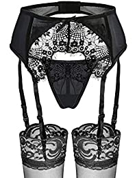 ba309296b94a2 Slocyclub Women 3 Pieces Sexy Lace Suspender Belt and Stockings